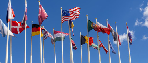 National flags which represent for the multilateralism